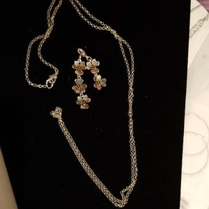 Necklace,  silver, flowers, removable